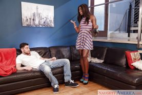 Ebony dome Ana Foxxx coercing sex from large cock by stripping off clothes