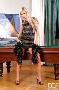 Blue eyed blonde Bridget posing nude on top of billiard table after undressing