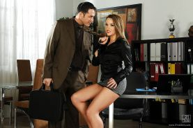Hot office babe Kitty Cat gives a blowjob and gets her love holes fucked