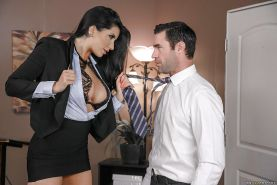 Brunette Latina schoolgirl Romi Rain frees huge tits for nipple licking