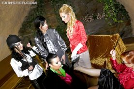 Big busted european lesbian has fun with her friends and gets bukkaked