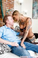 Inked blonde Kleio Valentien receiving anal sex in nylons and high heels