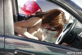 Lovely girlfriend Tiffany Haze being watched voyeur outdoor in bikini