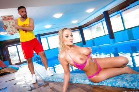 Big boobed blonde Kayla Green exposes huge hooters outdoors and takes jizz