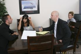 Office MILF with huge tits Lezley Zen fucking in the conference room