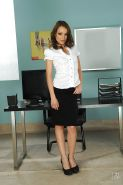 European office babe on high heels Sophie Lynx stripping off her clothes