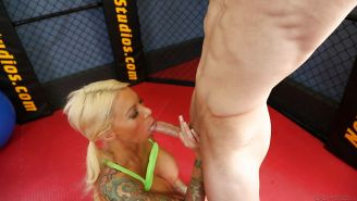 Inked and busty MILF pornstar Lolly Ink giving BJ before hardcore sex