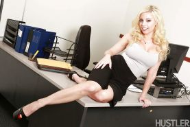 Blonde office babe Britney Amber exposing mice melons in high heels
