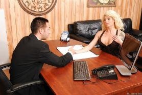 Hot MILF Brooke Haven with hooters gets fucked in the office