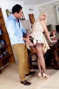 Blonde cougar Jan Burton having her panties pulled down for oral sex