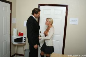 Big titted office slut Bree Olson has anal sex and gives blowjobs