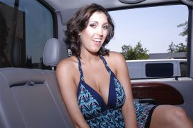 Full-bosomed lesbians Dylan Ryder & Rucca Page kissing in the car