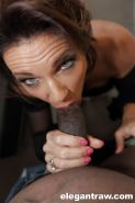 Buxom older lady Deauxma blowing and tit fucking a big black cock