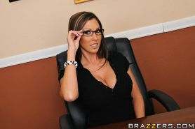 Samantha Saint has some lesbian fun with her office mate using sex toys