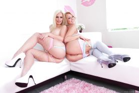 Luscios blonde lesbian hotties in stockings have some anal fun with sex toys
