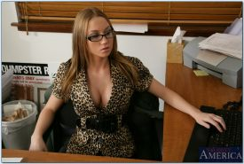 Big titted office slut in glasses Madison Scott jumping on bulging dick