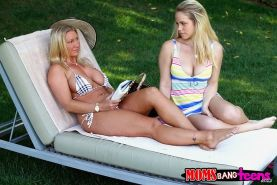 Devon Lee & Britney Young revealing their big tits outdoor
