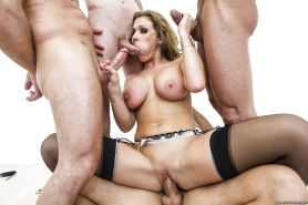 Hot MILF in stockings Nikki Sexx is into hardcore groupsex with horny guys
