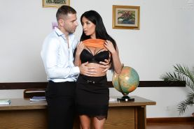 Busty European teacher Anissa Kate having trimmed pussy licked and fucked