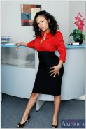 Stunning black babe Lacey DuValle stripping and spreading in the office