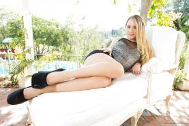 Top pornstar AJ Applegate freeing sexy ass from black skirt in high heels
