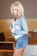 Beautiful milf babe Simone Sonay poses in amazing denim outfit