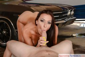 MILF wife and pornstar Rachel Starr licking and riding husband's big cock