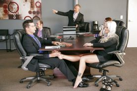 Blonde secretary Holly Heart uses oiled feet to jerk cock in office