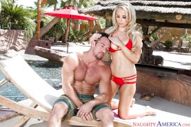 Blonde cougar Alix Lynx giving bj and and getting fucked beside pool