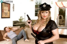 Dixie Devereaux stripping from police uniform and torn pantyhose for penetration