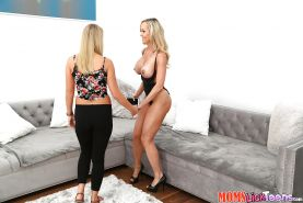 Pornstar Brandi Love seducing dirty blonde teen Cali Sparks for lesbo sex
