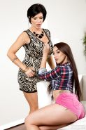 Older and younger lesbians Shay Fox ad Mandy Muse rubbing tits together