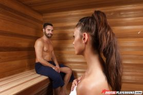 Girl with saggy tits and tattooed belly Whitney Westgate rides dick in sauna