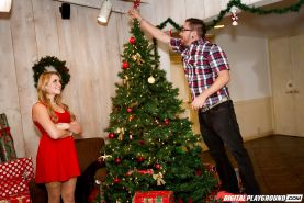 Cute blonde Mia Malkova giving big cock oral sex underneath Christmas tree