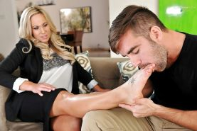 Business blonde woman Olivia Austin, satisfies foot fetish and spreads