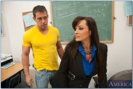 Gorgeous teacher in stockings Lisa Ann gets fucked hardcore by her student