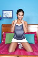 Relaxing Asian babe Cindy Starfall fingers her small dark hole