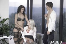 Office secretaries Leanna Sweet and Victoria Summers having threesome