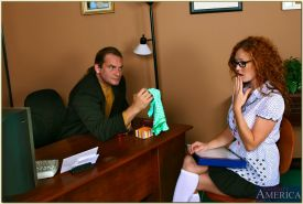 Slutty redhead in white socks Audrey Hollander gets her pussy drilled