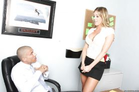 Lusty babe Samantha Saint gets seduced and fucked hard in the office