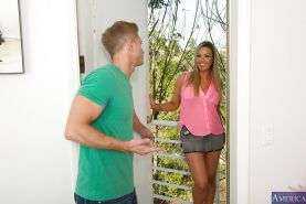 Amazing milf Abbey Brooks taking off clothes and pleasing her neighbor