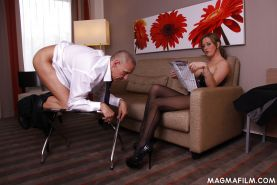 Sexy femdom slut Ana Montana milking a cock and dominating a guy