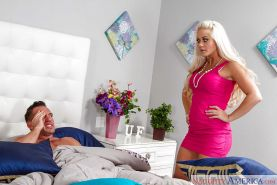 Blonde mom Holly Heart giving and receiving oral sex with husband