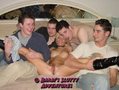 Very slutty blonde MILF Barbi Sinclair dresses as slut and goes to a college groupsex party where she fucked every single guy.