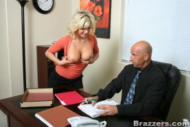 Secretary with big boobs Bree Olson take a cock deep in her throat