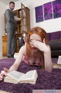 Glasses clad European redhead Ella Hughes taking hardcore sex from tutor