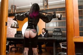 Tattooed fetish model Joanna Angel in latex getting ass fucked in office bang