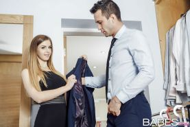 Stocking attired female Stella Cox greeting her man at door after work for BJ