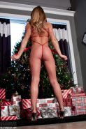 Non nude amateur MILF Madden posing in ribbon by the Christmas tree #50312405