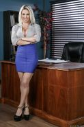 Blonde office worker Rachel RoXXX exposing round tits in tan stockings